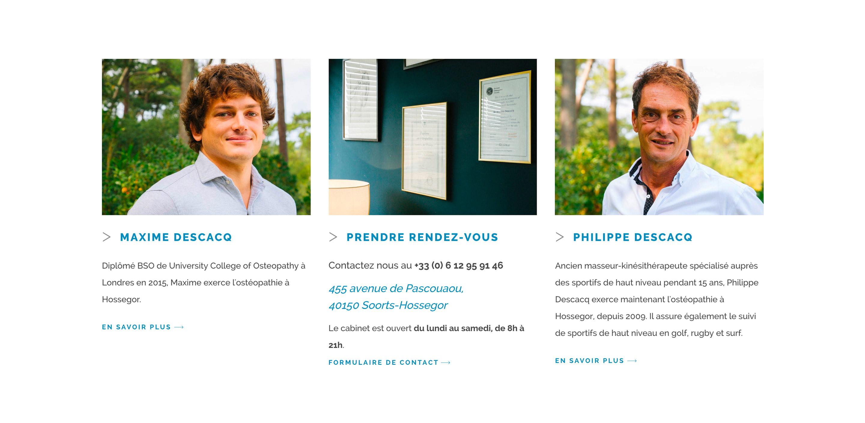 Jean Le Roy - Développeur web et consultant social medias à Biarritz - Hossegor Ostéopathie, Philippe et Maxime Descacq