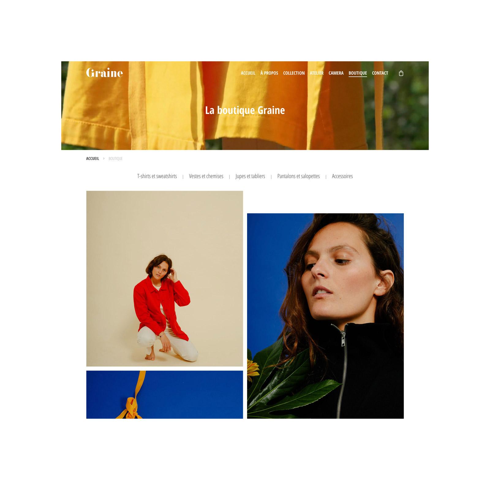 Jean Le Roy - Développeur web et consultant social medias à Biarritz - Graine Clothing - Page boutique