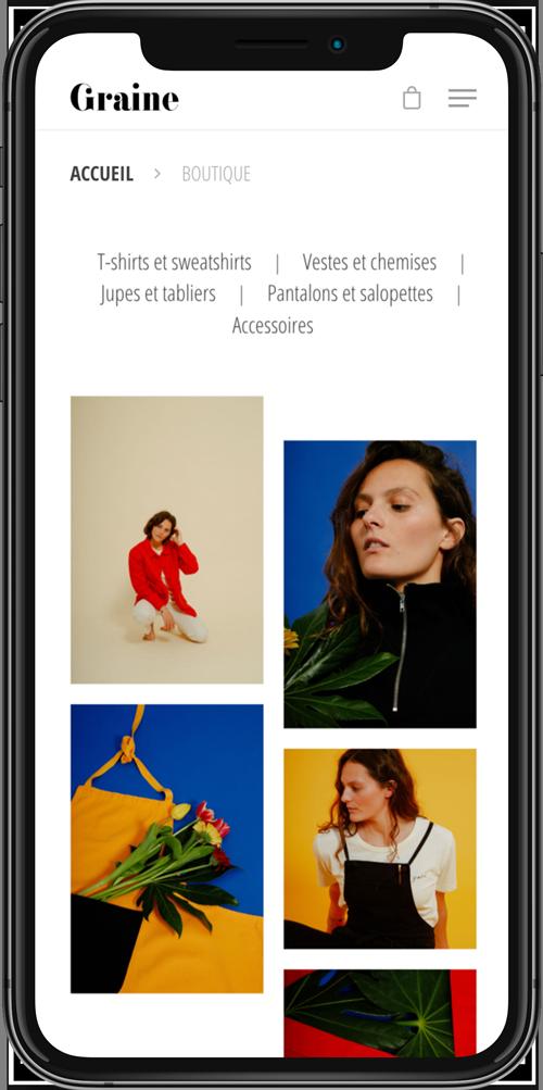 Jean Le Roy - Développeur web et consultant social medias à Biarritz - Graine Clothing - Page boutique mobile