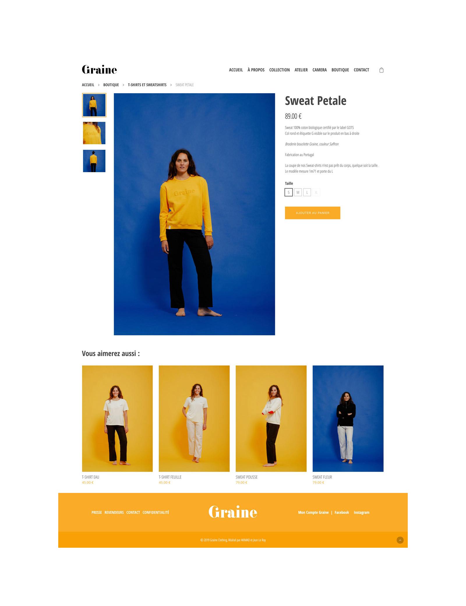 Jean Le Roy - Développeur web et consultant social medias à Biarritz - Graine Clothing - Page produit