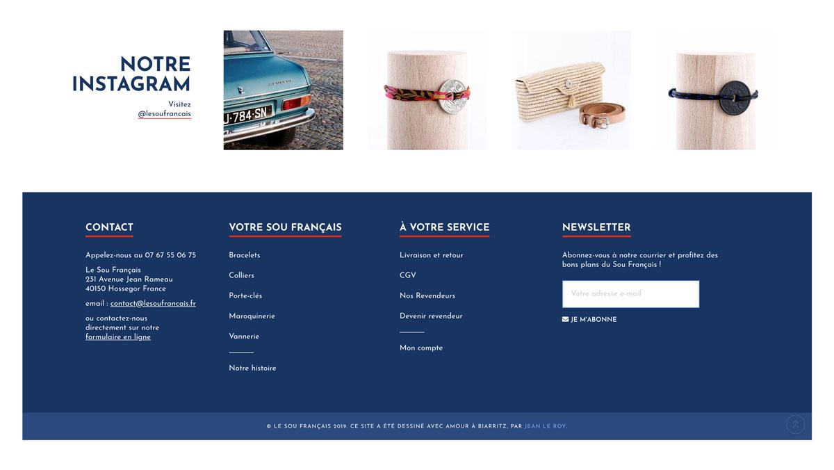 Jean Le Roy - Développement site e-commerce - Le Sou Français footer - Biarritz