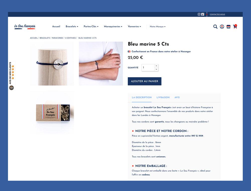 Jean Le Roy - Développement site e-commerce - Le Sou Français page produit bracelet - Biarritz