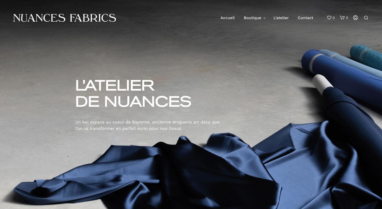 Nuances Fabrics - détail du site e-commerce vente de tissus en ligne créé par Jean Le Roy développeur à Biarritz, mise en page par Jean Le Roy
