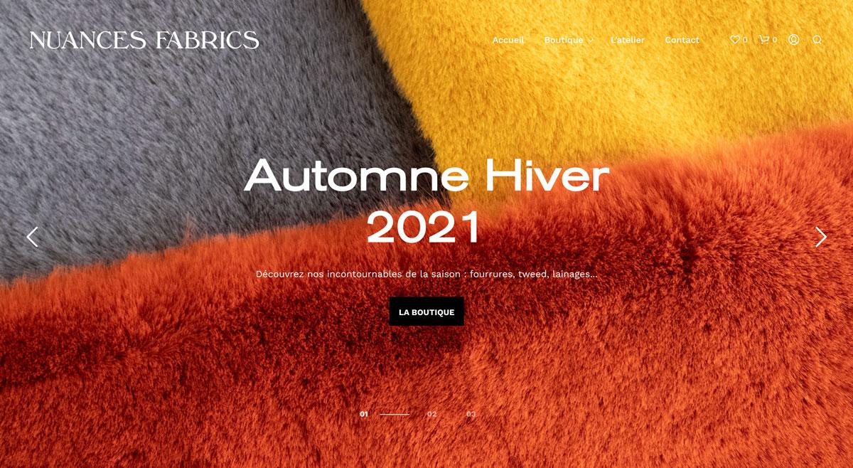 Nuances Fabrics - home page du site e-commerce vente de tissus en ligne créé par Jean Le Roy développeur à Biarritz, Photo par Jean Le Roy