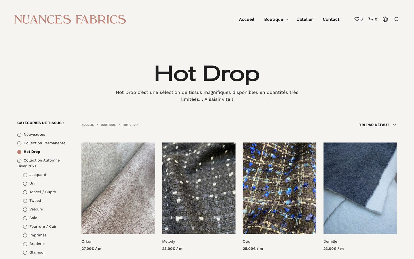 Nuances Fabrics - page boutique site e-commerce vente de tissus en ligne créé par Jean Le Roy développeur à Biarritz, mise en page par Jean Le Roy